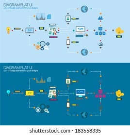 Flat Style Diagram, Infographic and UI Icons to use for your business project, marketing promotion, mobile advertising, research and analytics.