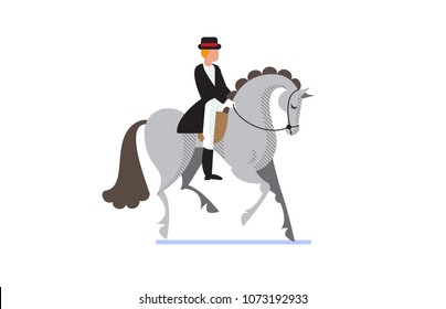 Flat style equestrian poster with a jockey on grey horse. Vector illustration.