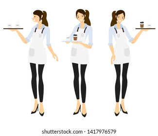 flat style female barista or coffee waiter   collection esp10 vectors illustration