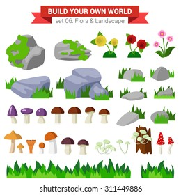 Flat style flora landscape environment stone flower mushroom moss bush grass nature objects icon set. Build your own world collection.