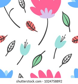 Flat Style Flowers and Leaves Colorful Vector Seamless Pattern
