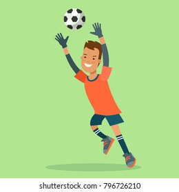 Flat style football soccer goalkeeper goal ball jump vector character. Sportsmen collection. Team sport high detail illustration.