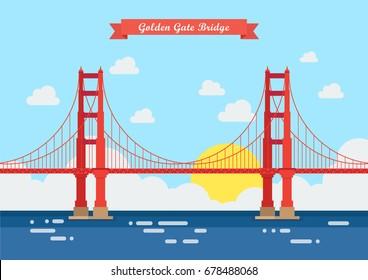 Flat style Golden Gate Bridge. Vector illustration