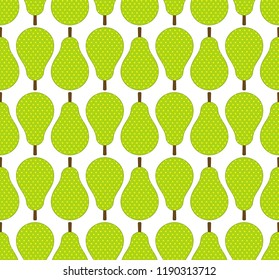 Flat style green pears fruits in rows seamless pattern, vector