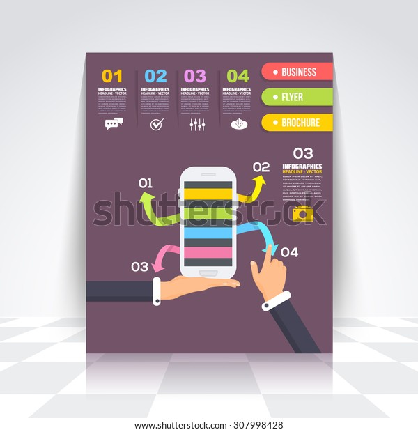 Flat Style Hands and Action. Infographics Design Brochure, Cover, Flyer. Numbered Banner Design