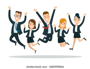 Flat style happy business people jumping characters vector icon set collection. Male and female persons in office clothes. Businessmen and businesswomen team