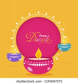 Flat style Happy Diwali greeting card design with illuminated oil lamps hang on yellow background.