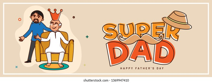 Flat style header or banner design with illustration of son presenting award to his father for Super Dad, Happy Father's Day celebration concept.