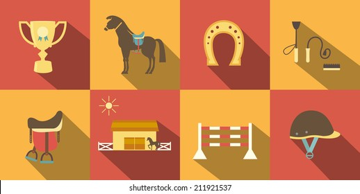 Flat Style Horse Icons in Alternate Red and Orange Background.