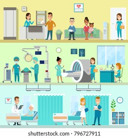 Flat style hospital clinic equipment interior vector set. Doctor, nurse, patient, staff. MRI US ultrasonic ultrasonography magnetic resonance imaging, ward, surgery, surgeon, reception.