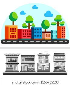 Flat style houses with road. Cartoon city buildings in bright color. Summer sunny day street view. Flat vector illustration