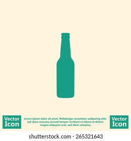 Flat style icon with beer bottle symbol