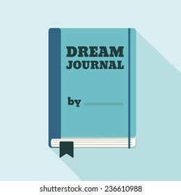 Flat Style Icon with Long Shadow. A dream journal. Concept for psychology, lifestyle education, training courses, self-development and how-to articles