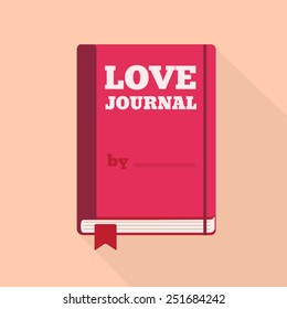 Flat Style Icon with Long Shadow. A love journal. Concept for Saint Valentines day, training courses, self-development and how-to articles for women