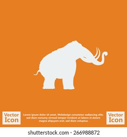 Flat style icon with mammoth symbol