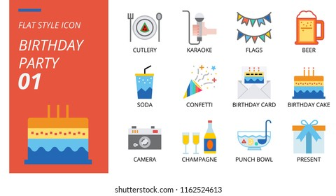 Flat Style Icon Pack Birthday Party Stock Vector Royalty Free