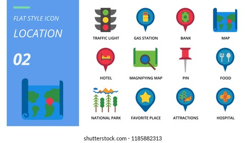 Flat style icon pack forlocation, traffic light, gas station, bank, map, hotel, magmitifying map,pin, food, nationnal par, favorite place, attractions, hospital