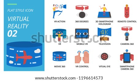 b58c8b35815 Flat Style Icon Pack Virtual Reality Stock Vector (Royalty Free ...