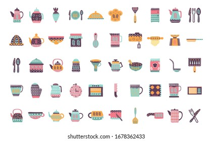flat style icon set design, Cook kitchen decorative elements eat food restaurant home menu dinner lunch cooking and meal theme Vector illustration