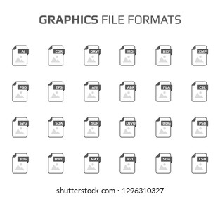 Flat style icon set. Graphic design, vector file type, extencion. Document format. Pictogram. Web and multimedia. Computer technology. Vector