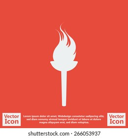Flat style icon with torch symbol