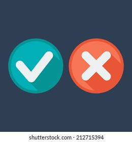Flat style icons with long shadow. Delete & tick or check and cross marks. Validation. Vector illustration.