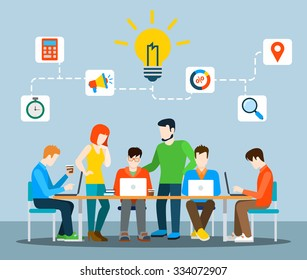 Flat style idea brainstorming creative team concept web infographics vector illustration. Creative people collection. Group of casual young male female working table icon connections.