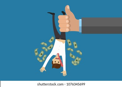 Flat style illustration of anonymous official holding worker and shaking to knock out all money. To drain out of money concept. Eps vector illustration, horizontal image, flat style graphic design.