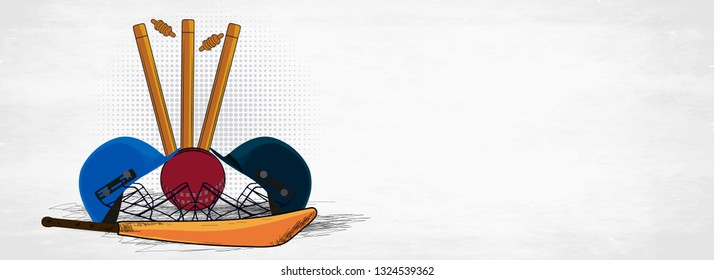 Flat style illustration of cricket attire helmets with bat, ball and stumps on white background. Cricket tournament header or banner design.