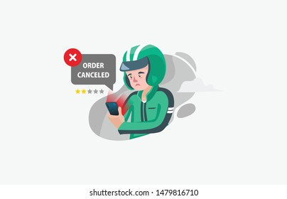 Flat style illustration of delivery man driver icon and biker canceling order or order canceled by costumer for ordering food service for landing page and websitev