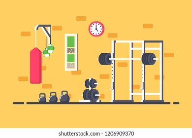 Flat style illustration of gym interior. Heavy barbell, squat rack and additional gym equipment. Bodybuilding, fitness, sport, healthy lifestyle concept.