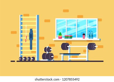 Flat style illustration of gym interior. Heavy barbell, barbell rack and additional gym equipment. Bodybuilding, fitness, sport, healthy lifestyle concept.
