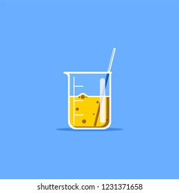 Flat style illustration of laboratory beaker with yellow liquid. Scientific research concept.