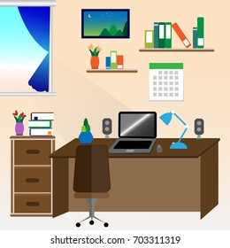flat style illustration of modern home workplace
