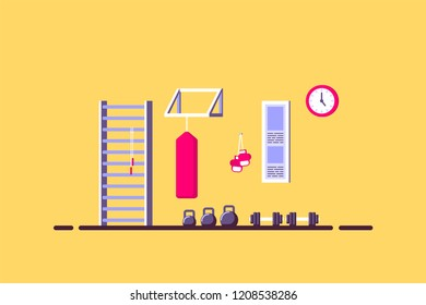 Flat style illustration of sport room interior. Kettlebells, dumbbells, punching bag and other sport equipment. Bodybuilding, fitness, sport, healthy lifestyle concept.