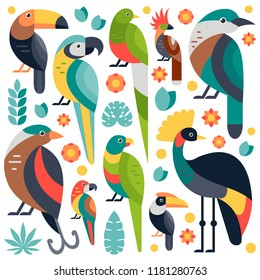 Flat style illustration with Toucan, Blue and Yellow Macaw, Bird of Paradise and other types of birds. Vector set of Tropical birds with flowers and leaves.