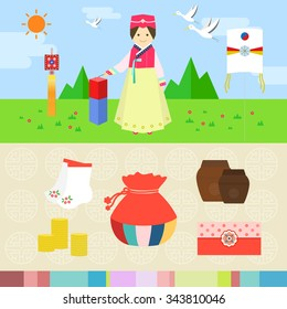 Flat style illustration. Vector objects. Feast of Koreans.