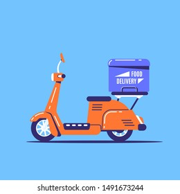 Flat style image of an electric scooter with a box. Fast goods delivery concept design.