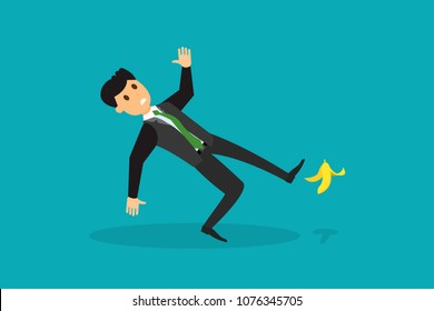 Flat style image of man in suit slipping on banana skin and falling down. Making mistakes known errors in business concept. Eps vector illustration, horizontal image, flat style graphic design.