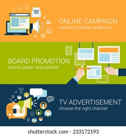 Flat style infographic advertising campaign types concept. Online social media promo, board promotion, tv advertisement web site icon banners templates set. Website conceptual flat vector collection.
