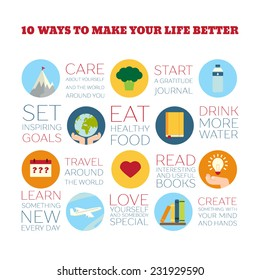 Flat Style Infographics. 10 ways to make your life better. Concept for education, training courses, self-development and how-to articles