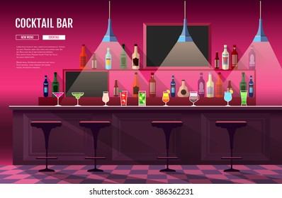 Flat style interior of cocktail bar