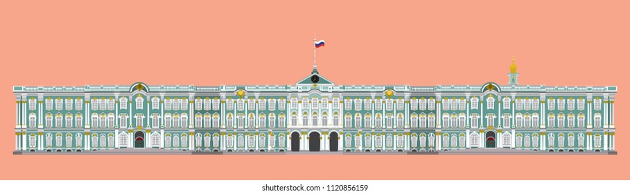 flat style isolate vector of hermitage museum,landmark of st.petersburg Russia illustration,vector element