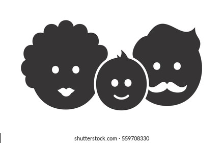 Flat style isolated on white background family icon. Full family simple shape logo. Happy parents with a child sign. Adult couple with one kid pictogram