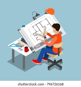 Flat style isometric 3d drawing architect board table multipurpose vector illustration. Man creator drafting. Architectural desk for sketching. Large sheet of paper, ruler architect workplace