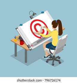 Flat style isometric 3d drawing architect board table multipurpose vector illustration. Woman drafting Copyright sign. Architectural desk for sketching. Large sheet of paper, ruler architect workplace