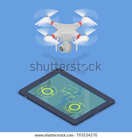Flat Style Isometric 3 D Drone Quadcopter Stock Vector (Royalty Free