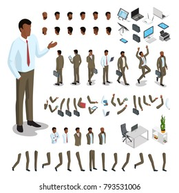 Flat style isometric body parts of black man vector illustration set. Male business character constructor: hair style, clothes, accessories and gadgets, legs, arms moves. Animated characters template