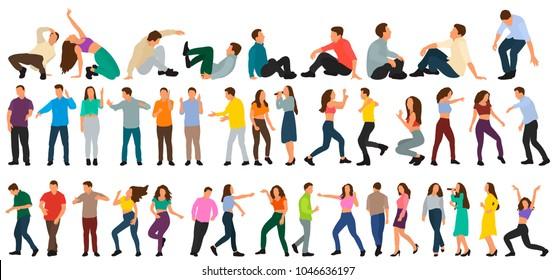 flat style, isometric people dance, set