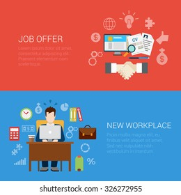 Flat style job offer new workplace website banner infographic icon set. Handshake CV work search computer and table briefcase room. Web infographics collection.